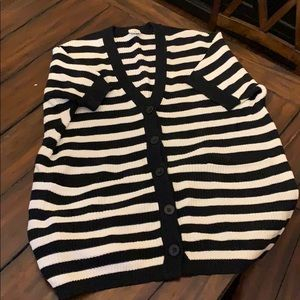"Cabi ""Whistle"" cardigan black and white stripe"